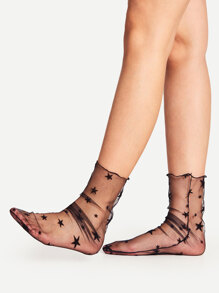 Star Pattern Slouch Mesh Ankle Socks
