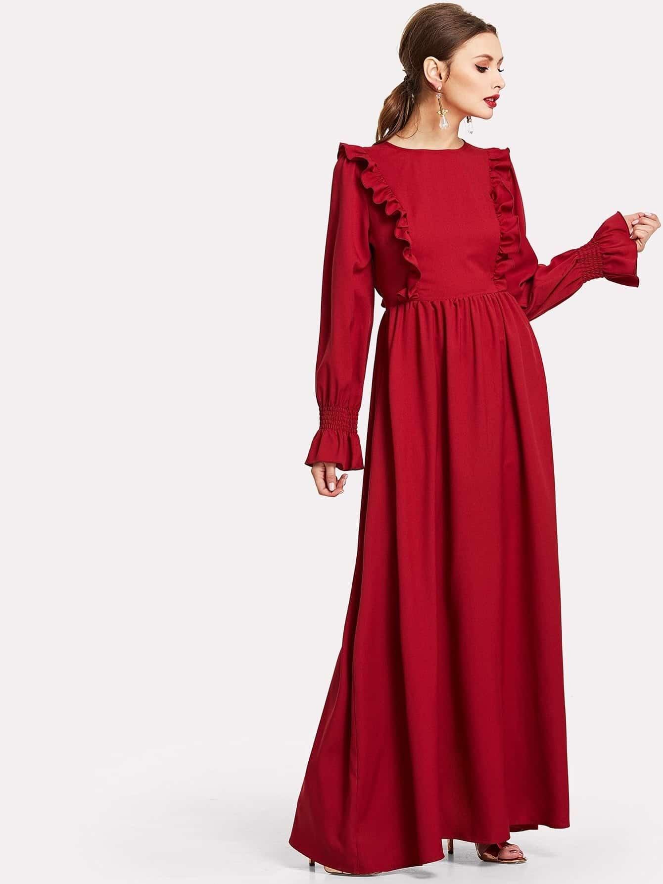 Ruffle Trim Shirred Bell Sleeve Maxi Dress lantern sleeve ruffle trim pinstripe dress