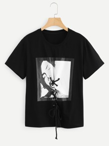 Grommet Lace Up Graphic Tee