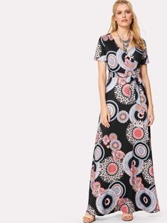 Geo Print Surplice Wrap Dress