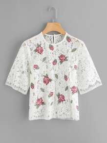 Scalloped Hem Embroidered Lace Top