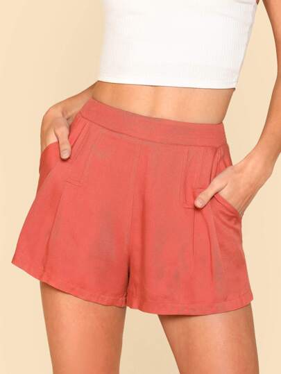 Zip Side Pleated Detail Shorts