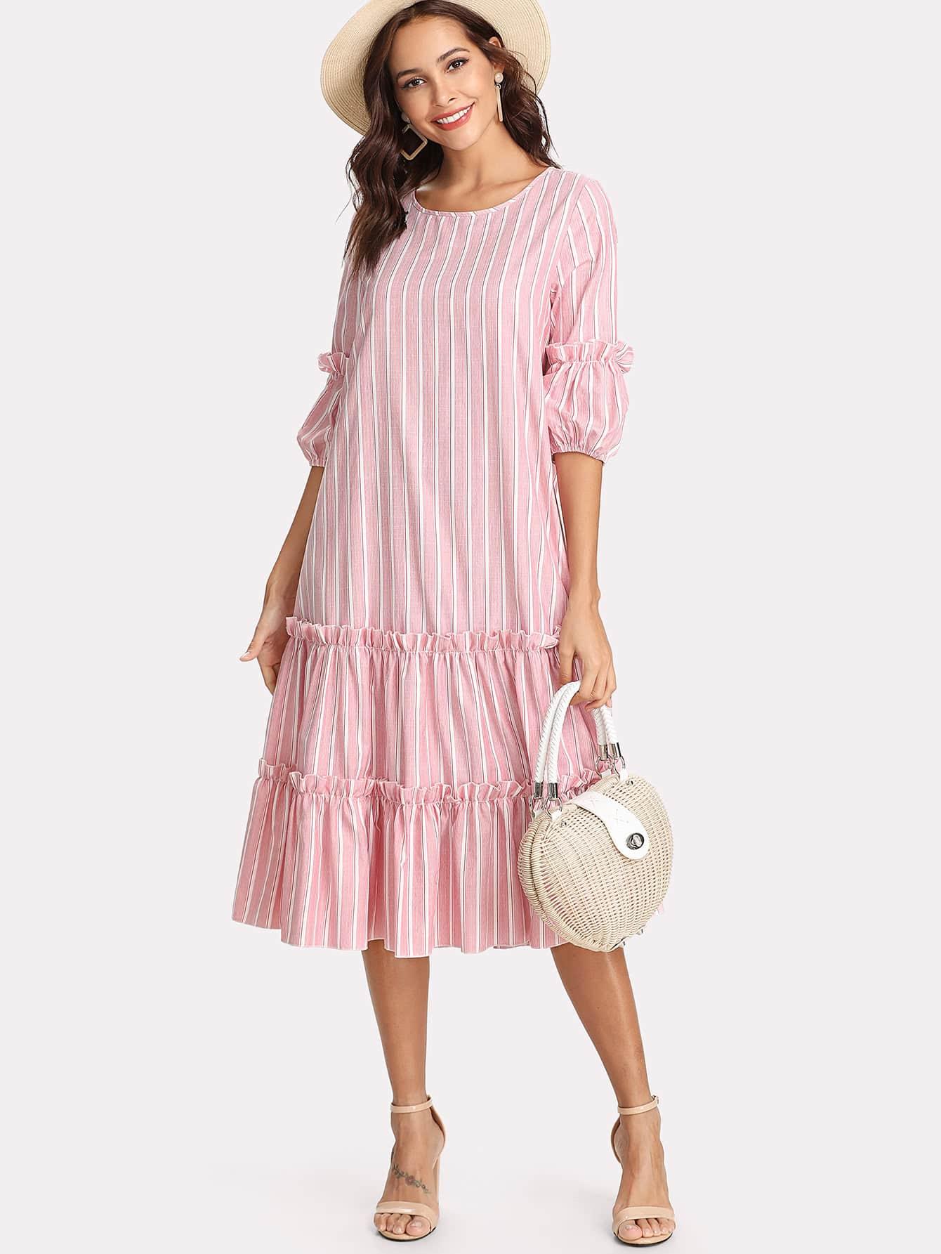 Купить Вертикальное полосатое оборванное украшенное качающееся платье, Giulia, SheIn