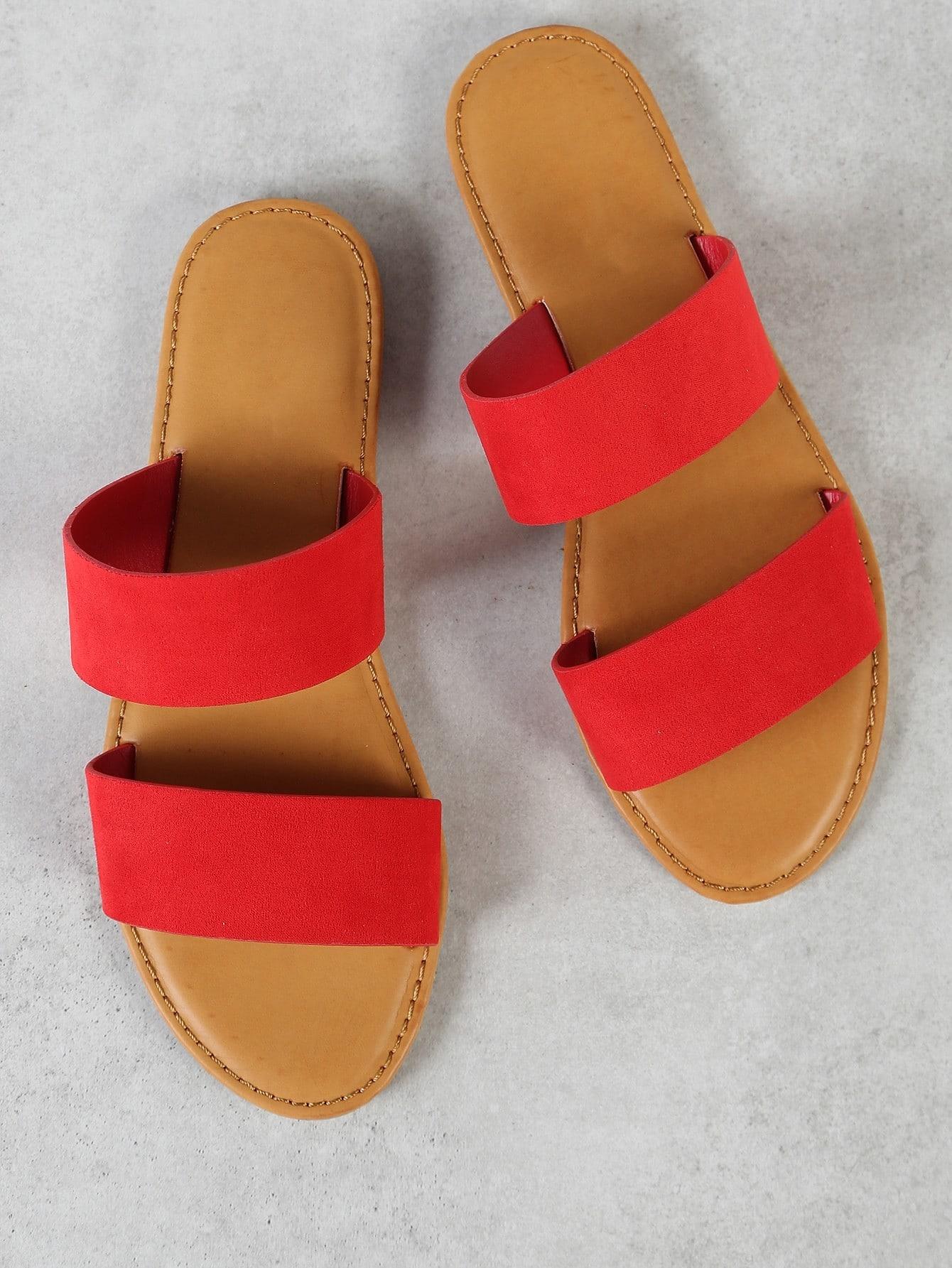 Faux Suede Double Band Slide Sandal RED double band slide sandal black