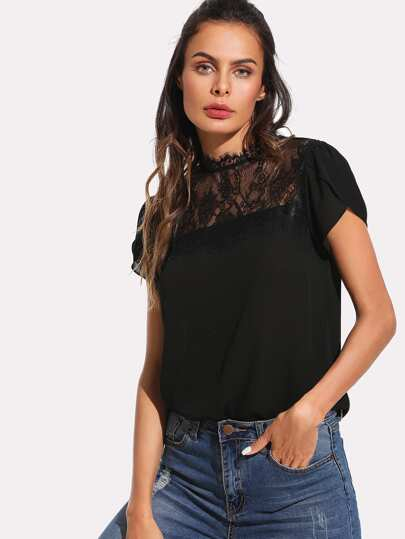 Petal Sleeve Lace Panel Top