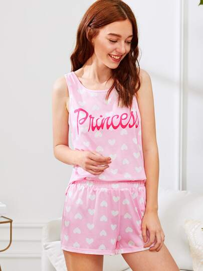 Letter And Heart Print Sleeveless Top And Shorts PJ Set
