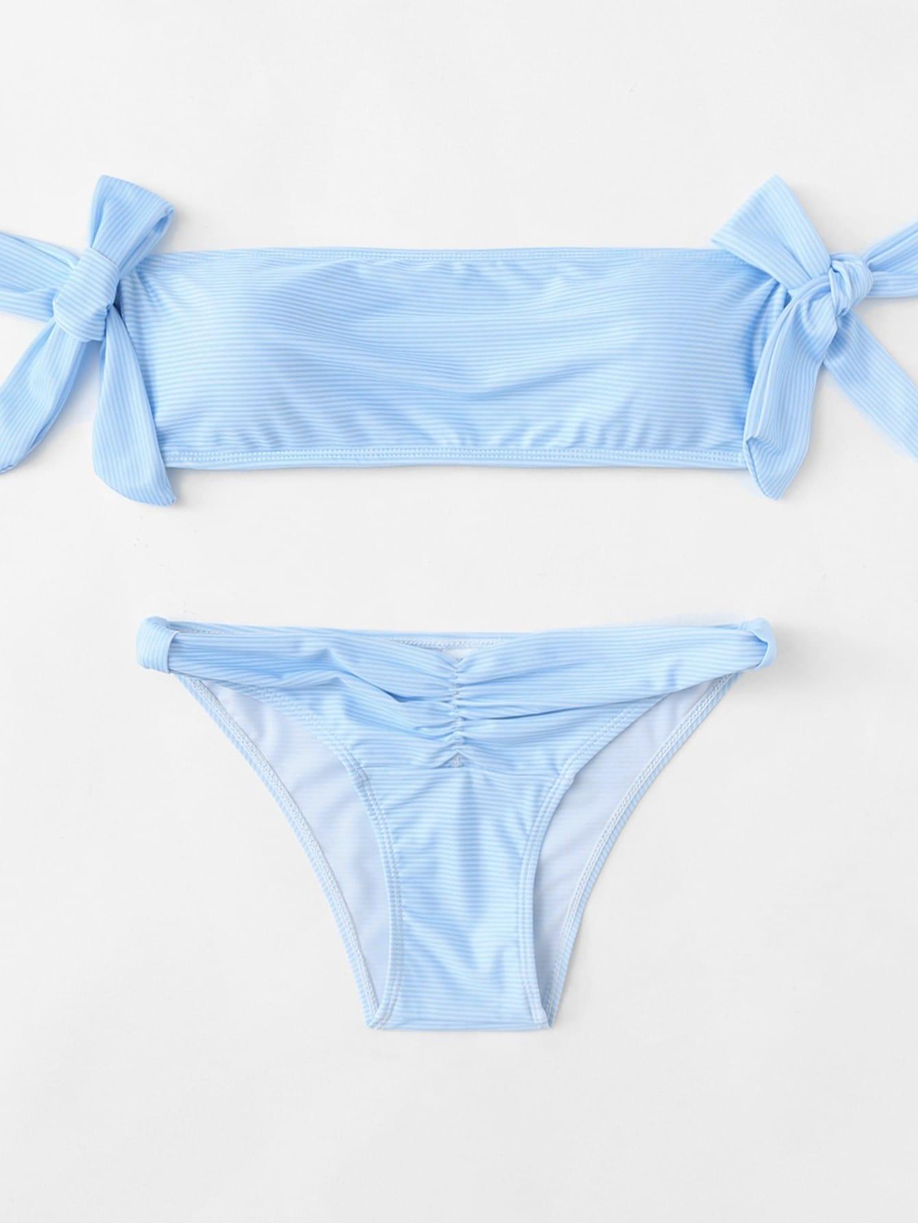 Bow Tie Striped Bardot Bikini Set