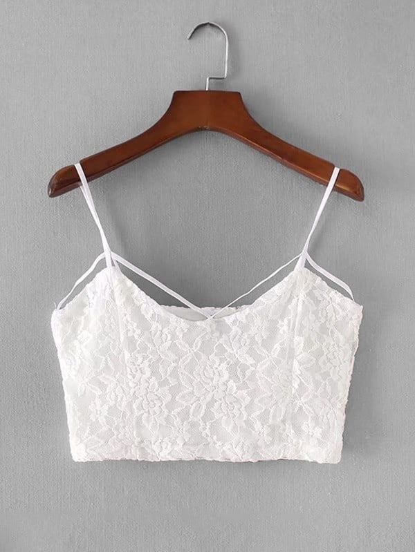 Strappy Detail Lace Overlay Crop Cami Top lace detail cami dress