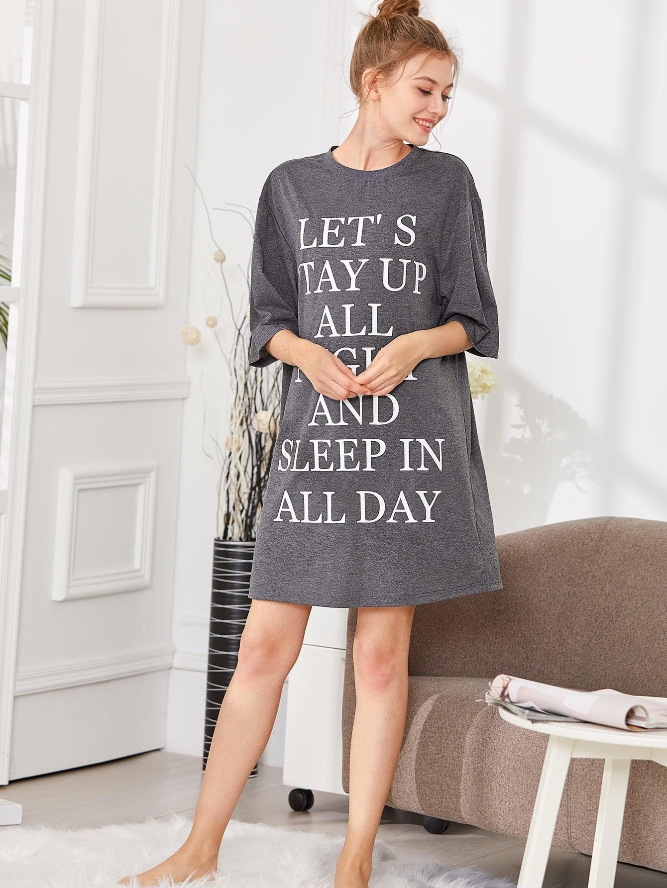 Letter Print Sleep Dress stars print cotton slip sleep dress