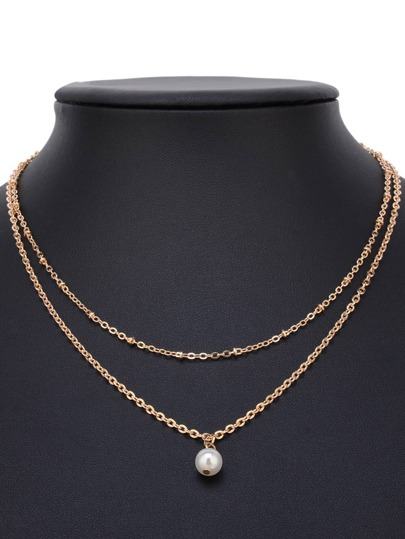 Faux Pearl Detail Double Layered Chain Necklace