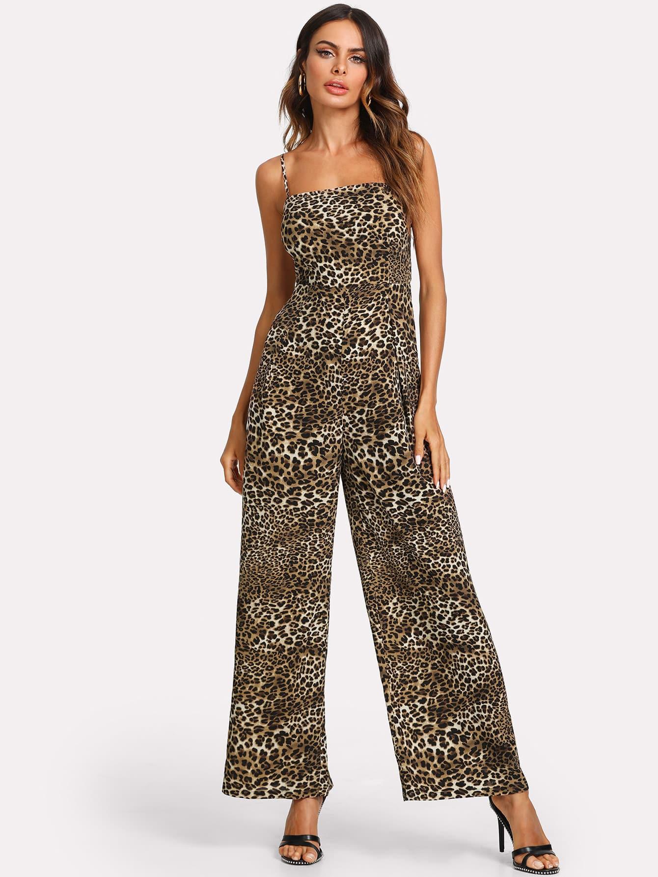 Leopard Print Knot Back Wide Leg Cami Jumpsuit tropical print wide leg cami jumpsuit