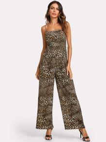 Leopard Print Knot Back Wide Leg Cami Jumpsuit
