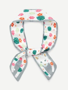 Flower & Cat Print Skinny Scarf