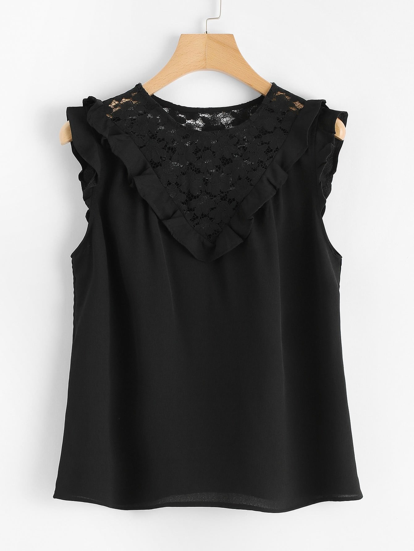 Floral Lace Insert Ruffle Detail Top lace insert fit