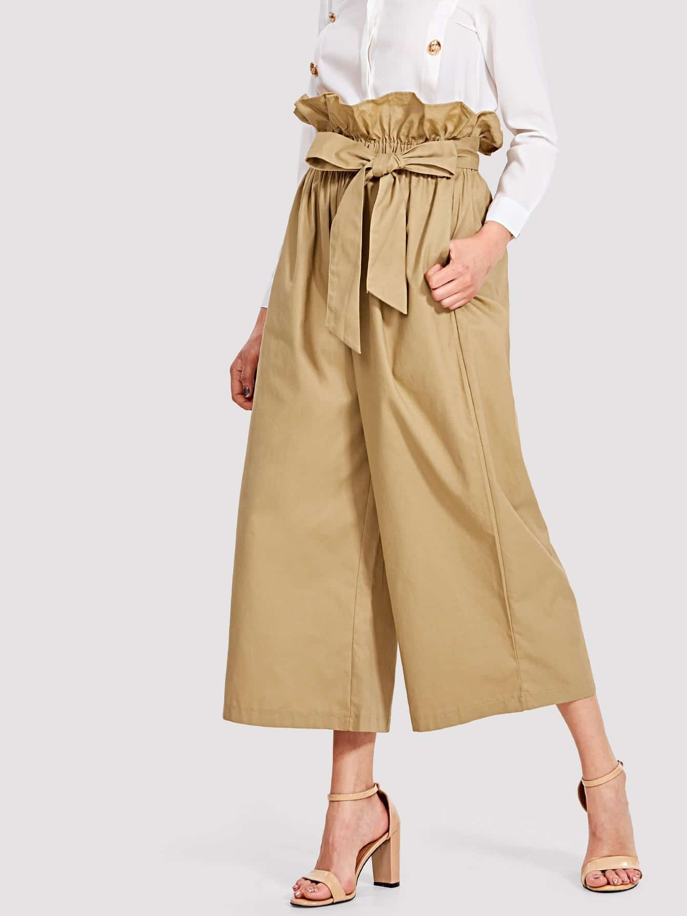 Tie Waist Hidden Pocket Wide Leg Pants bow tie side wide leg pants