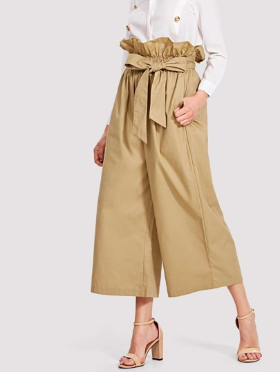 Tie Waist Hidden Pocket Wide Leg Pants