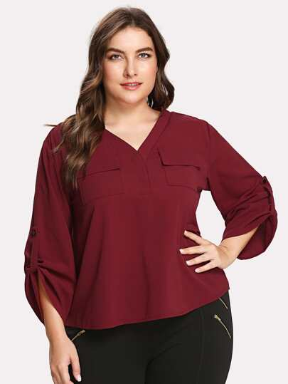 Roll Tab Sleeve Pocket Patched Blouse
