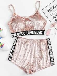 Printed Tape Detail Crushed Velvet Lingerie Set