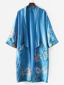 Satin Florals Drop Shoulder Kimono Coat