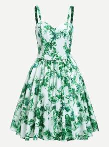 Random Florals Circle Dress