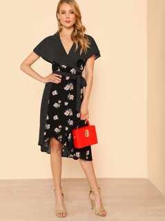 Floral Print Wrap Dress with Polka Dot Contrast BLACK MULTI