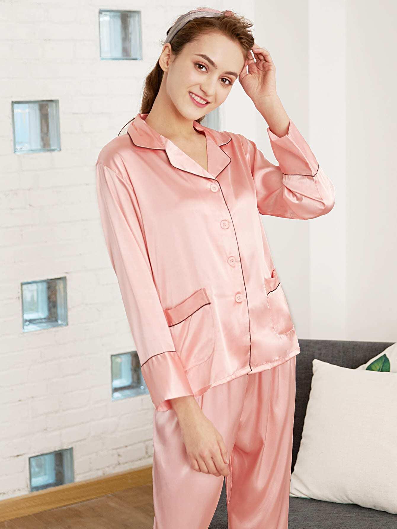 Contrast Binding Shirt & Pants PJ Set платья yulia dushina платье