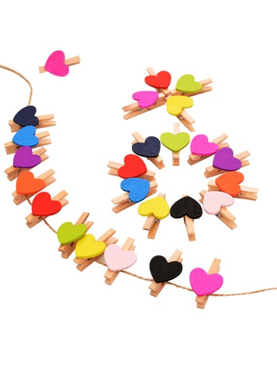 Heart Shape Wooden Clips 10Pcs