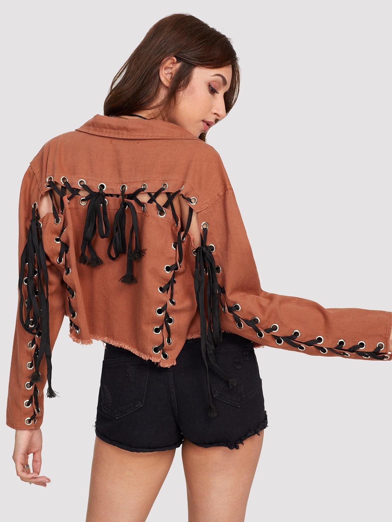 Grommet Lace Up Raw Edge Jacket grommet lace up destructed denim jacket
