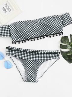 Plaid Bardot Top With Pom Pom Decor Panty Bikini