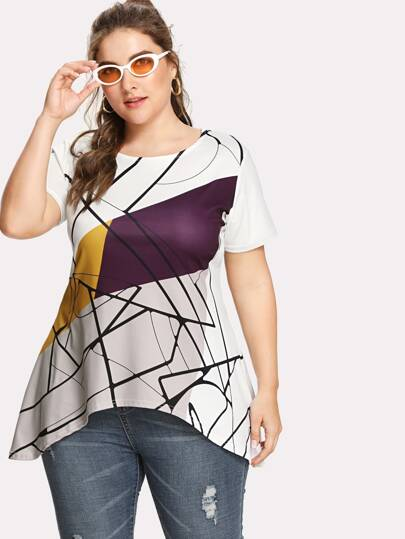 Abstract Geo Print Asymmetric Tee