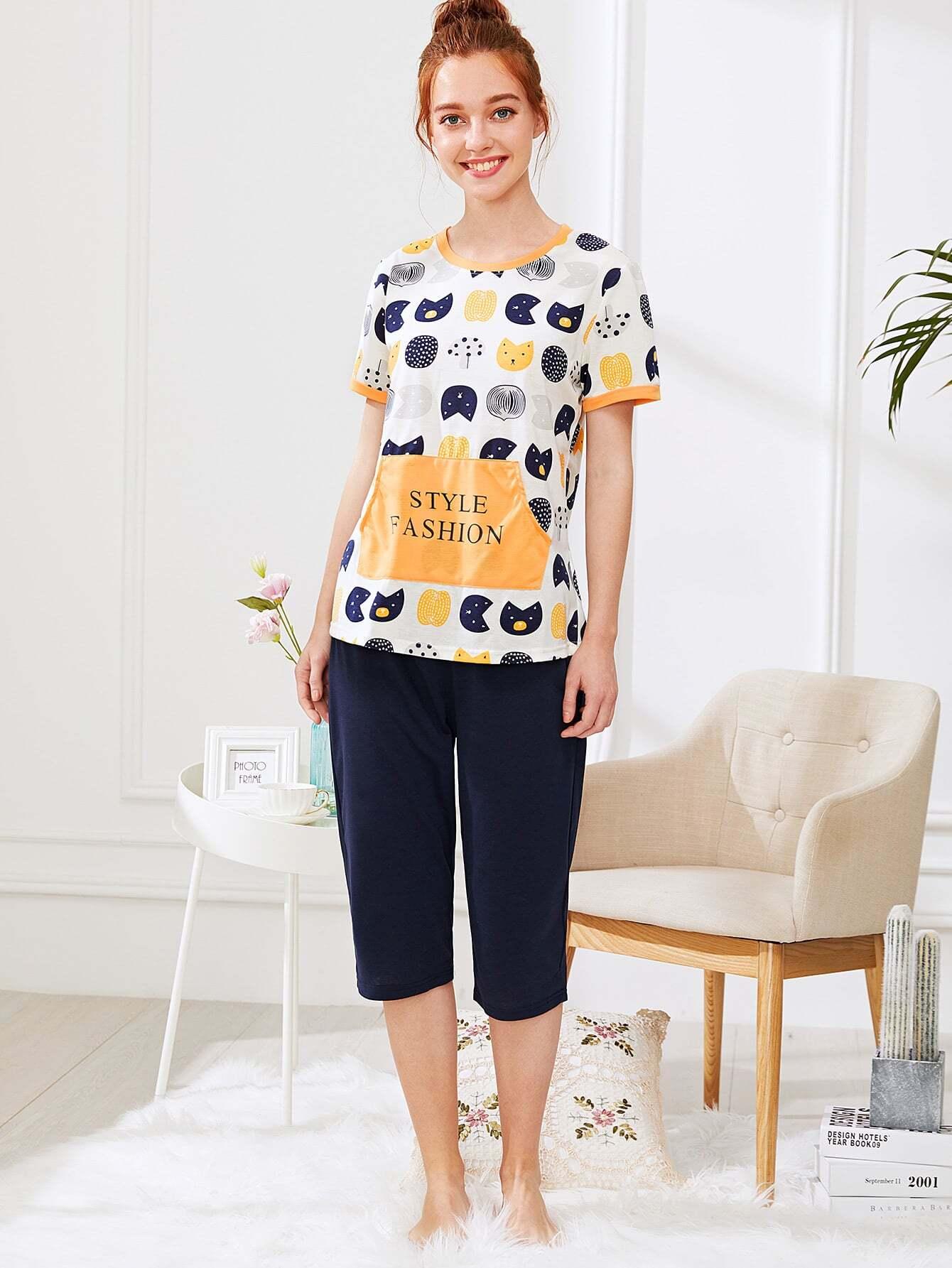 Купить Комплект пижамы топ с принтом мультики и брюки, Poly, SheIn