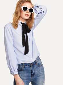 Contrast Tie Neck Striped Shirt