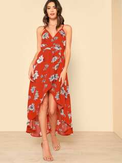 Surplice High Low Floral Print Dress RED ORANGE