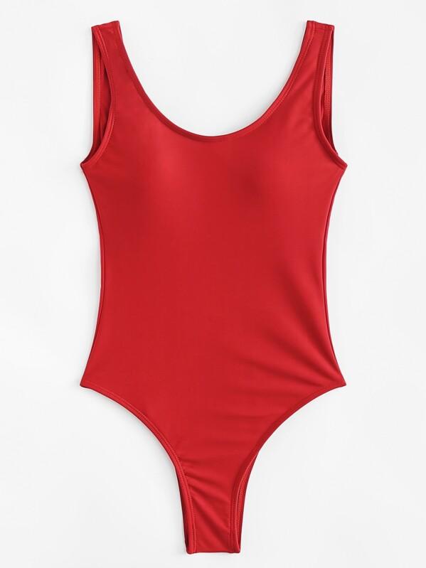 Scoop Neck Seam Trim Low Back One Piece Swimwear, null