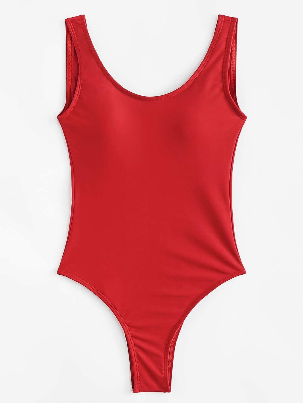 紅色  方領口 單件式 泳裝