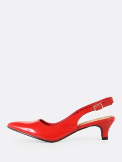 Patent Pointy Toe Sling Back Pump RED