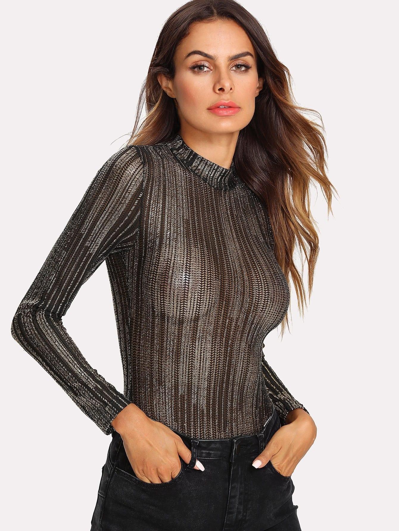 Stand Collar Metallic Bodysuit stand collar metallic bodysuit