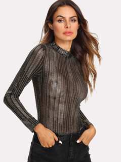 Stand Collar Metallic Bodysuit