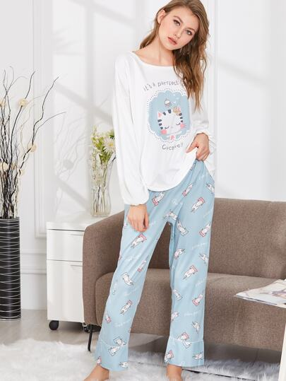 Cat Print Tee & Pants PJ Set