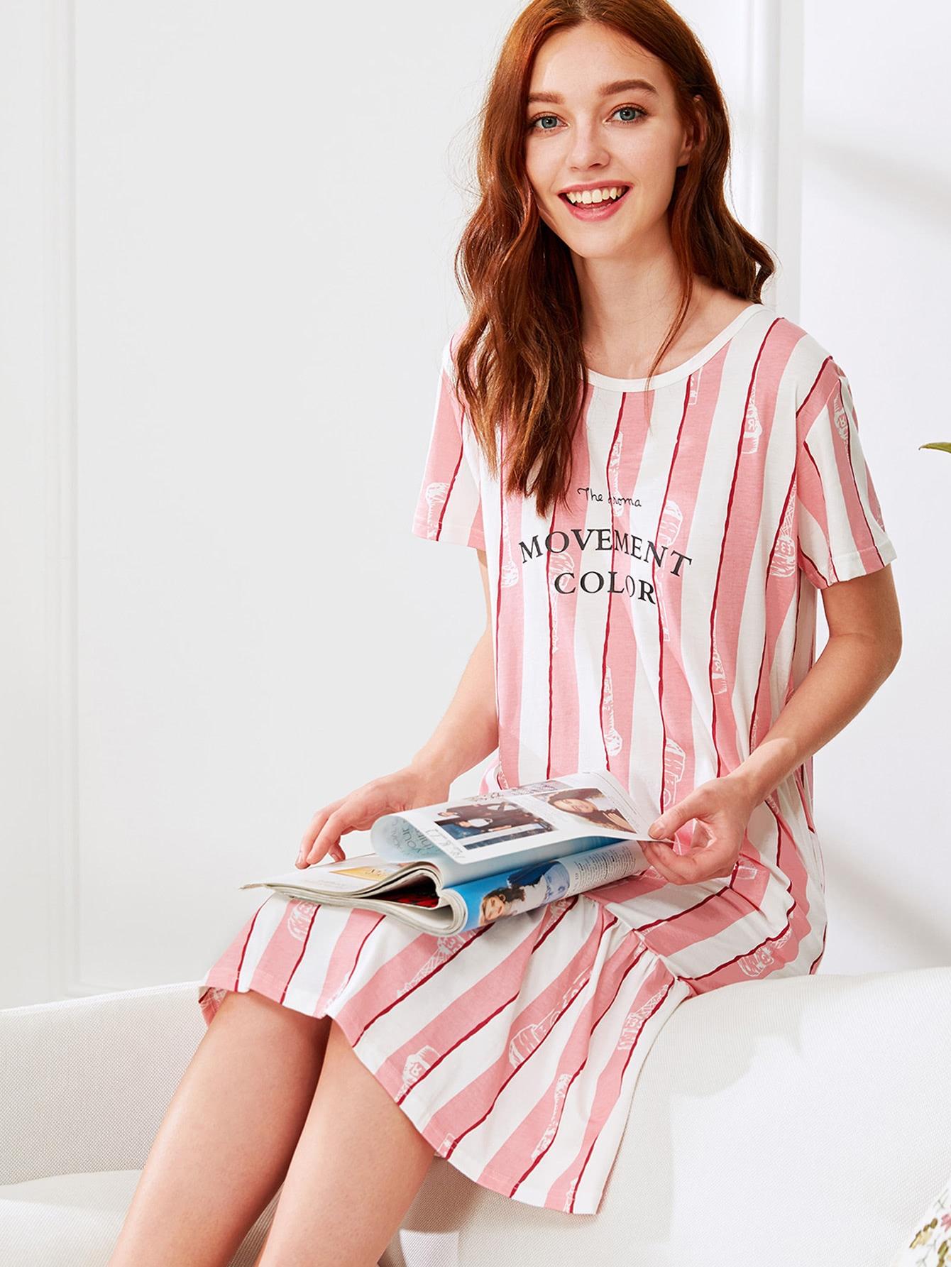 Letter Print Ruffle Hem Striped Dress night180307326
