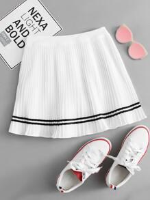 Elastic Waist Striped Pleated Skirt