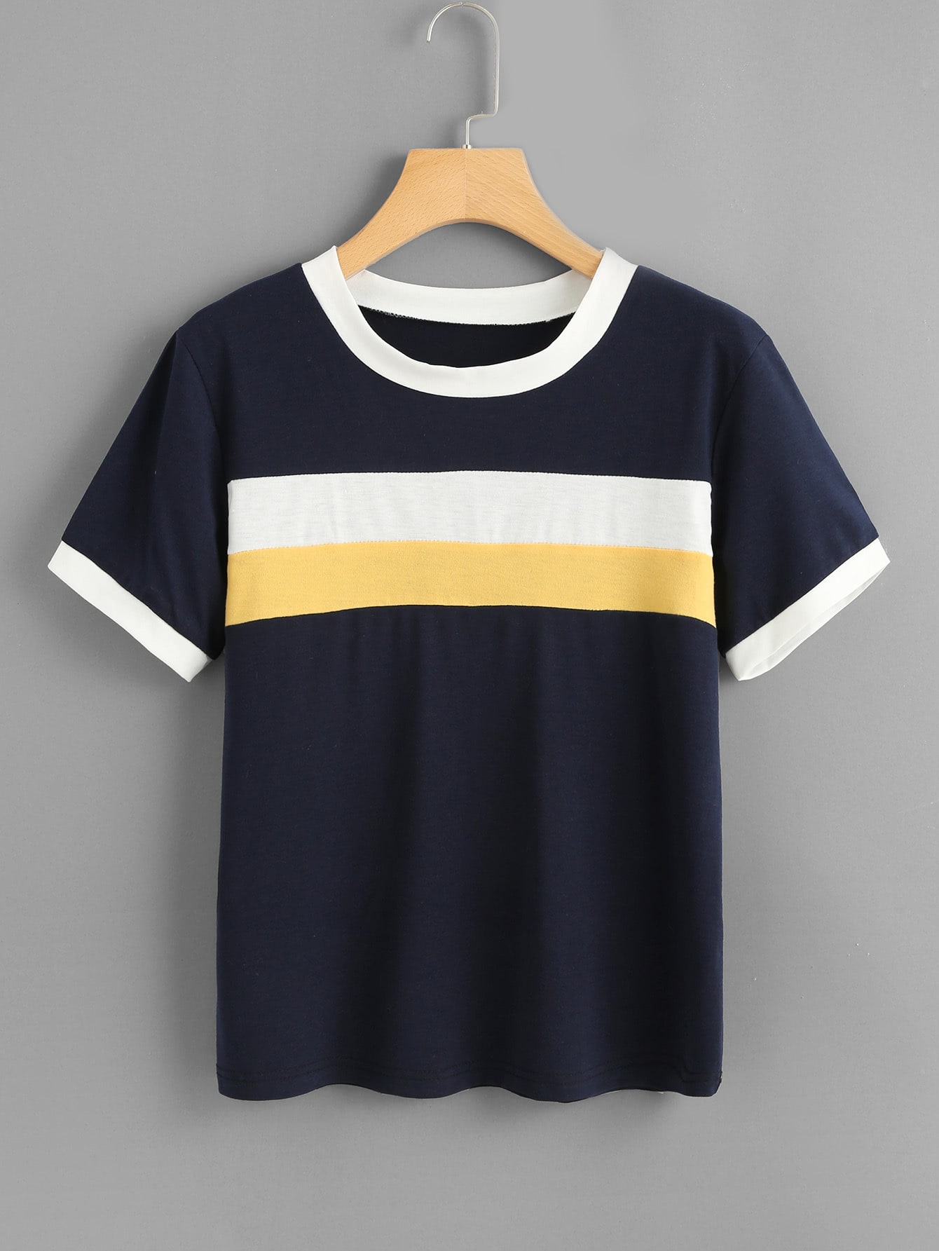 Contrast Trim Striped Tee
