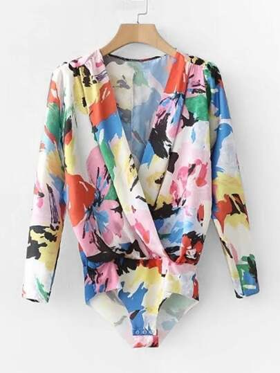 Abstract Florals Surplice Blouse Bodysuit