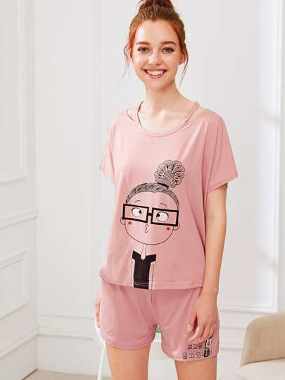 Cartoon Girl Print Tee & Shorts PJ Set