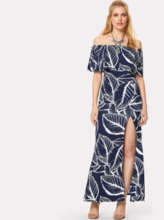 Flounce Off Shoulder Jungle Dress
