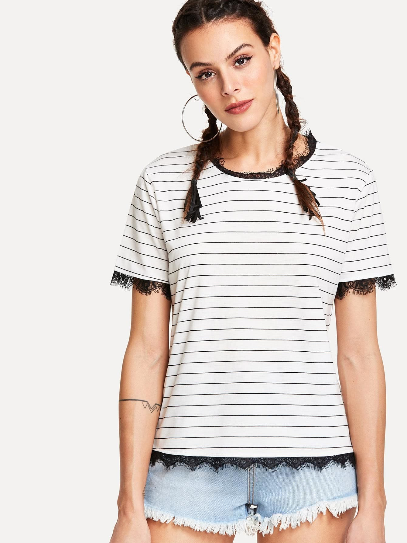 Contrast Eyelash Lace Striped Tee contrast striped trim camo print tee