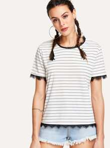Contrast Eyelash Lace Striped Tee