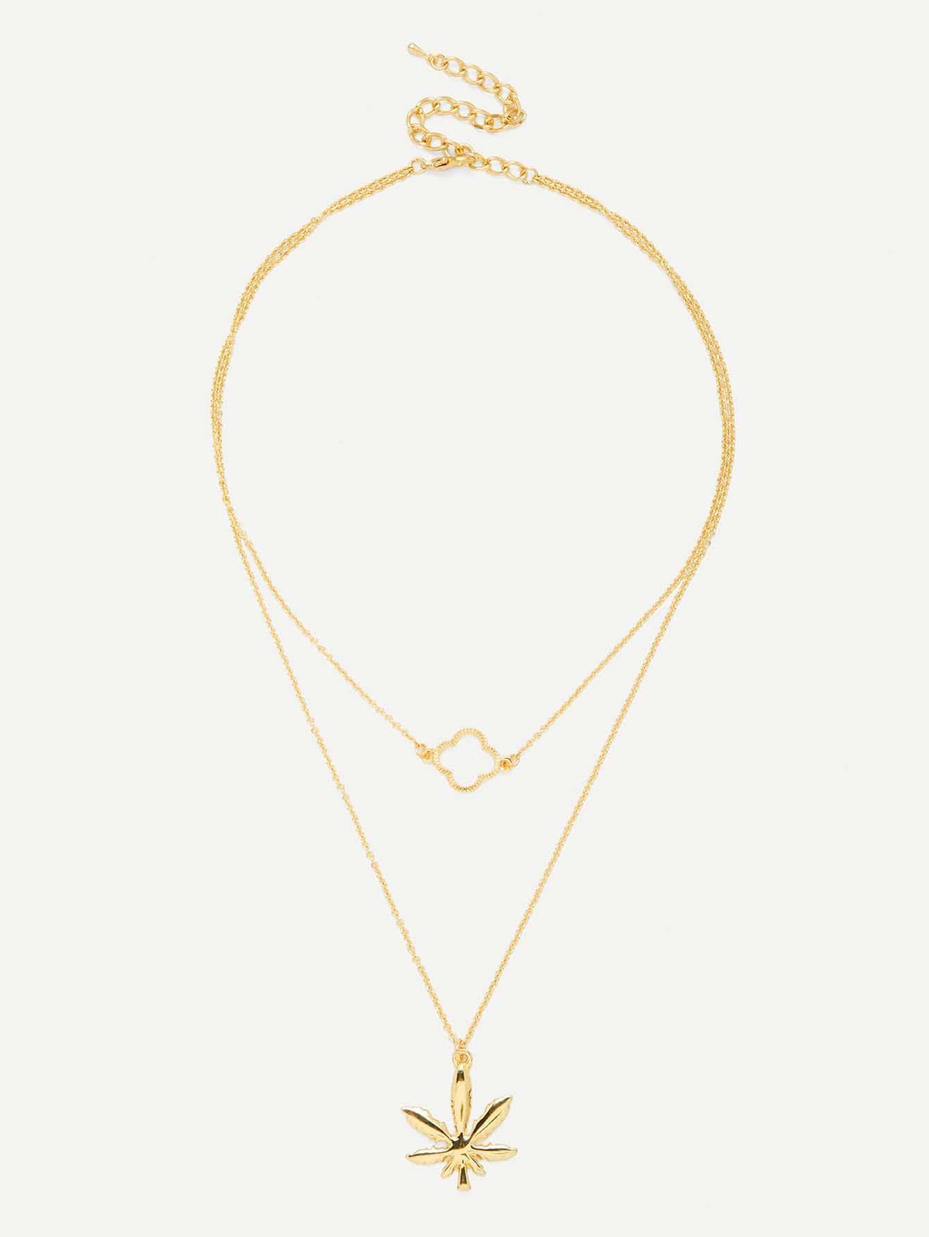 Maple Leaf Pendant Link Layered Necklace юбка fz1850 maple leaf 2014