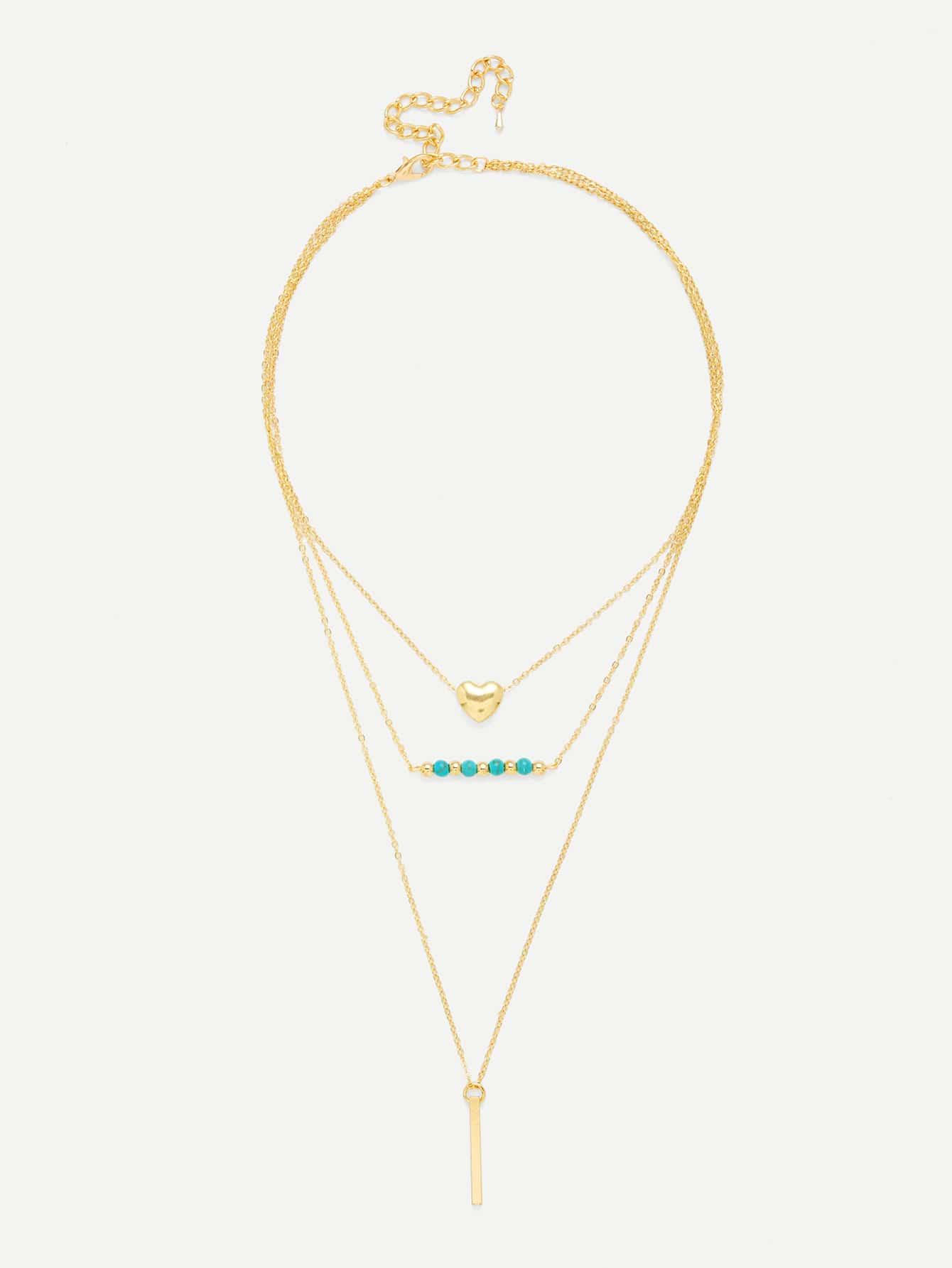 Heart & Bar Pendant Link Layered Necklace heart pendant beaded layered necklace