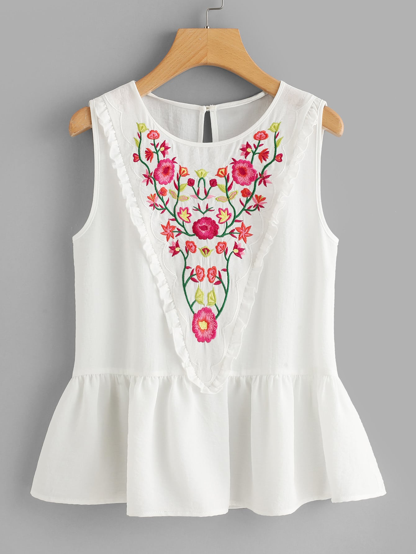 Frill Trim Embroidered Peplum Top frill detail crochet insert embroidered mesh top